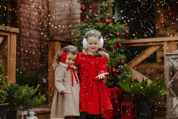 Jeunes jolies filles en manteaux d'hiver et cache-oreilles posant sur la terrasse en bois