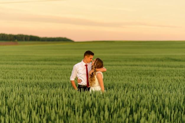 Jeunes mariés dans un champ de blé. un couple s'embrasse au coucher du soleil.