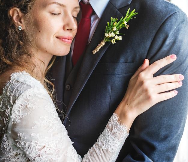 Jeunes mariés, ensemble, amour, bonheur, mariage, mariage