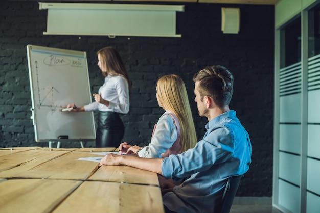Jeunes professionnels attrayants ayant une formation commerciale au bureau