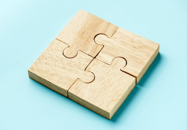 Jigsaw concept de travail d'équipe macro shot