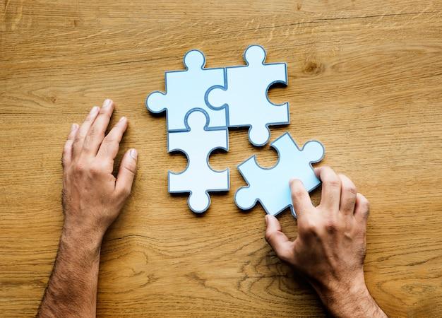 Jigsaw puzzle together partnership teamwork