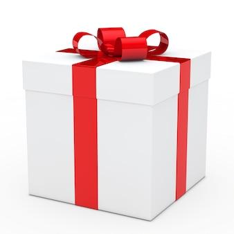 Joli cadeau avec un ruban rouge prêt pour l'anniversaire