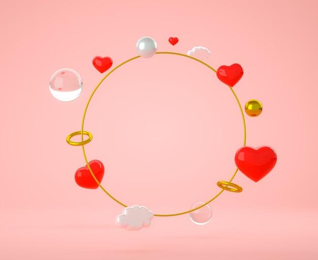 Joli cercle doré avec des sphères, des anneaux et des coeurs