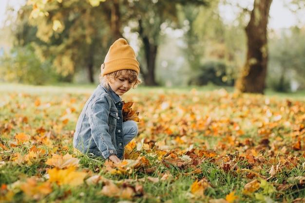 Joli garçon jouant avec des feuilles en automne parc