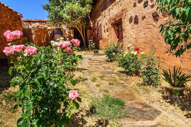 Joli jardin de maison ancienne avec plantes et fleurs colorées à l'entrée.