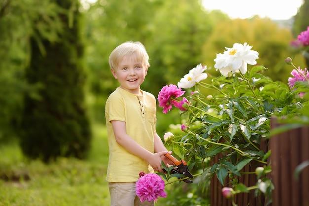 Joli petit garçon travaillant avec le sécateur dans un jardin domestique.