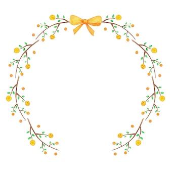 Jolie couronne florale faite de fleurs jaunes et ruban