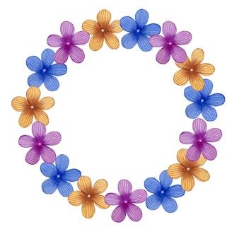 Jolie couronne de printemps dans les fleurs de pâques d'art populaire