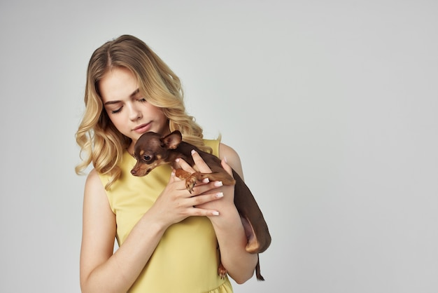 Jolie femme animal de compagnie posant fashion fond isolé