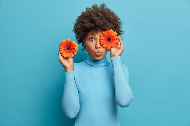 Jolie femme surprise couvre les yeux avec des gerberas orange, tient des fleurs, décore la salle pour une occasion spéciale, vêtue d'un col roulé bleu, se tient à l'intérieur.