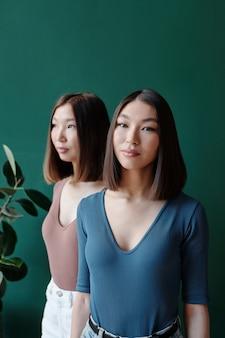 Jolie fille brune d'origine asiatique avec un maquillage naturel qui vous regarde en se tenant devant sa sœur jumelle en tenue décontractée en studio