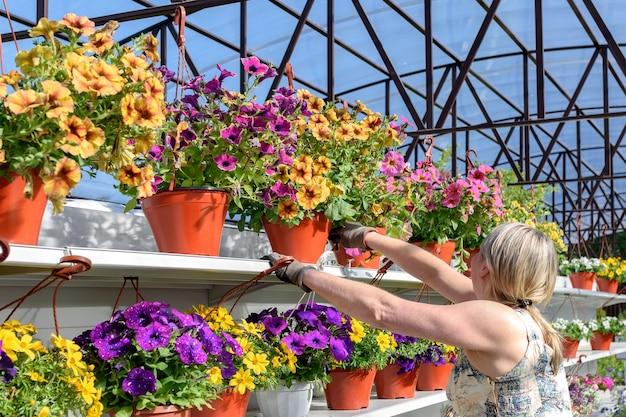 Une jolie fleuriste travaille avec des fleurs dans une jardinerie.