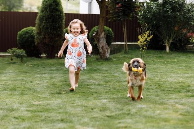 Une jolie petite fille joue avec son chien à l'extérieur sur l'herbe à la maison
