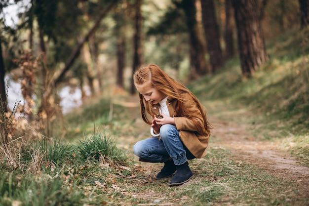 Jolie petite fille rassemblant des cônes dans la forêt