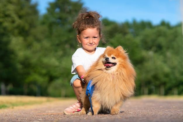 Jolie petite fille se promène avec son mignon petit ami chiot pomeranian spitz, bel enfant tenant un chien en laisse lors d'une journée d'été ensoleillée dans le parc. les enfants adorent les animaux, le concept d'amitié.