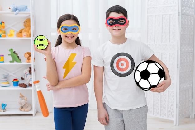 Jolie photo de frères et sœurs avec filtres d'icônes