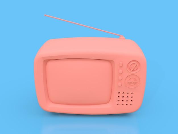 Jolie vieille télé rose avec antenne sur fond bleu. illustration 3d.