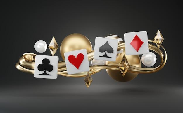 Jouer au symbole de jeu de cartes de poker, objets de thème abstrait flottant