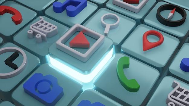 Jouer à l'icône de clip vdo sur une forme carrée, rendu 3d