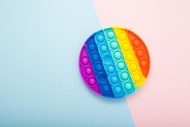 Jouet anti-stress sensoriel coloré push pop bubble en forme ronde espace pour le texte fossette simple