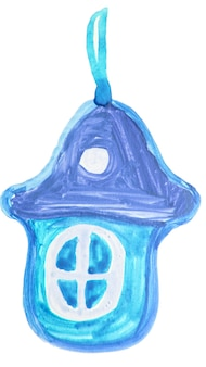 Jouet d'arbre de noël de maison de pain d'épice dessiné à la main, décoration, dessin mignon d'aquarelle