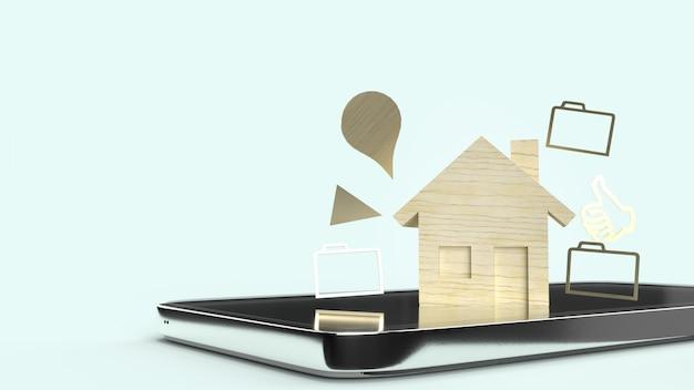 Le jouet en bois à la maison et smartphone, rendu 3d