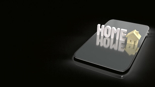 Le jouet en bois à la maison et le téléphone mobile pour le rendu 3d du contenu de la propriété.