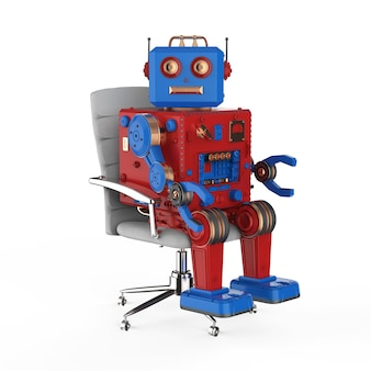 Jouet en étain robot rendu 3d assis sur une chaise de bureau