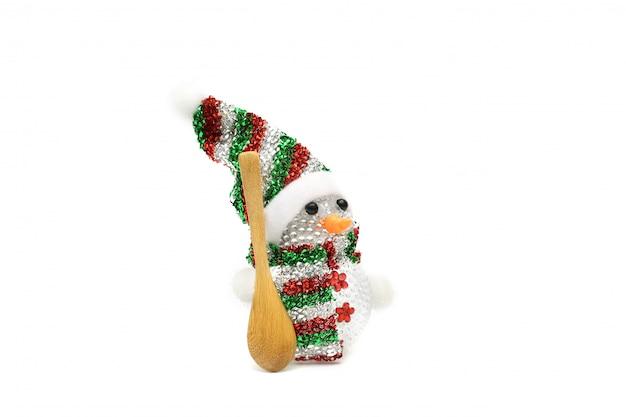 Jouet mignon bonhomme de neige isolé sur blanc