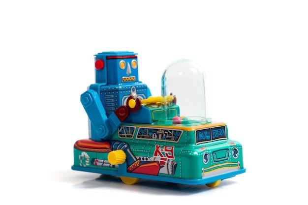 Jouet de robot étain vintage isolé
