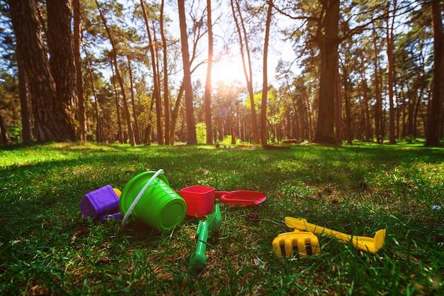 Les jouets des enfants dans la belle forêt sont dispersés