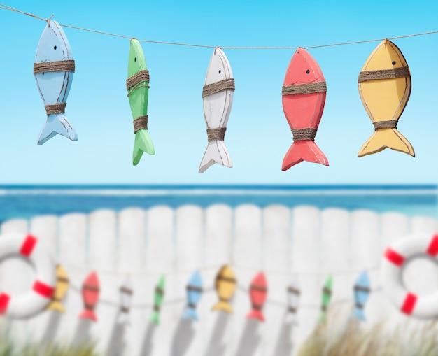 Jouets de poisson à la plage