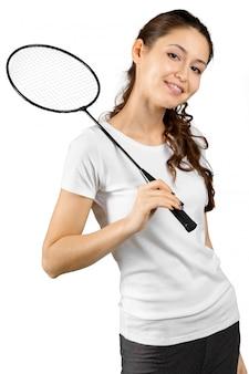 Joueur de badminton isolé sur blanc