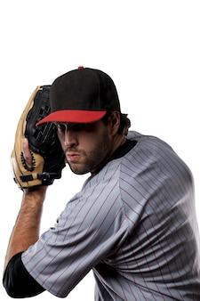 Joueur de baseball en uniforme rouge ,.