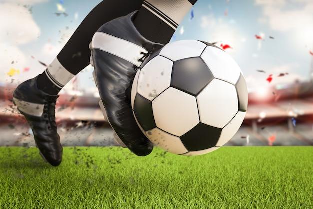 Joueur de football de rendu 3d donnant un coup de pied au ballon de football en mouvement
