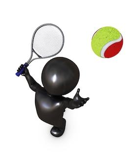 Le joueur de tennis au service d'une balle