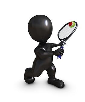 Le joueur de tennis fait une reprise de volée