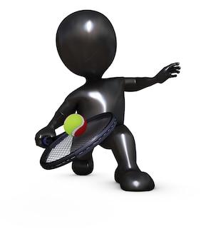 Le joueur de tennis frapper une balle de tennis
