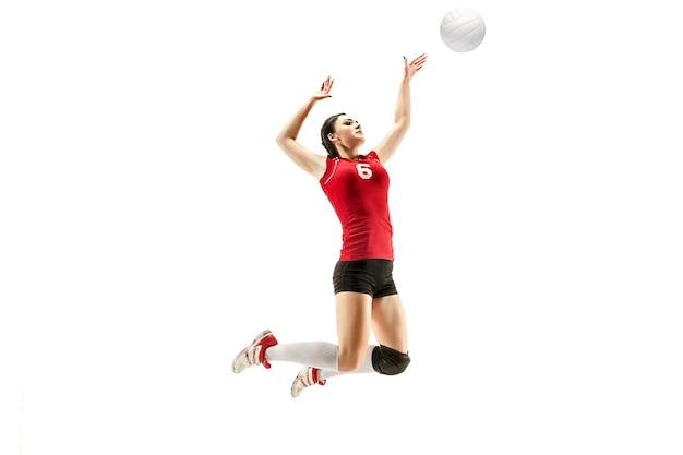Joueur de volley-ball professionnel féminin isolé sur blanc avec ballon l'action d'exercice de l'athlète