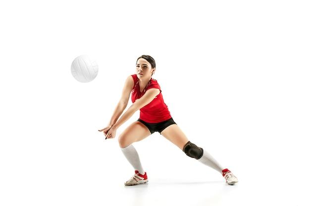 Joueur de volley-ball professionnel féminin isolé sur blanc