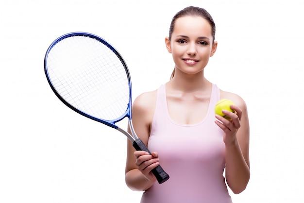 Joueuse de tennis femme isolée on white