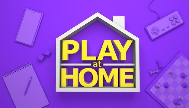 Jouez à la maison. jeux de société et jeux informatiques à la maison. rendu 3d.