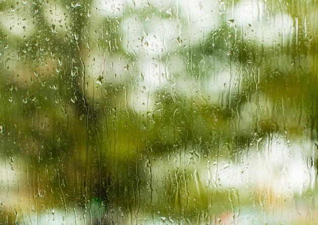 Jour d'été, gouttes de pluie sur la fenêtre, vue depuis la maison confortable