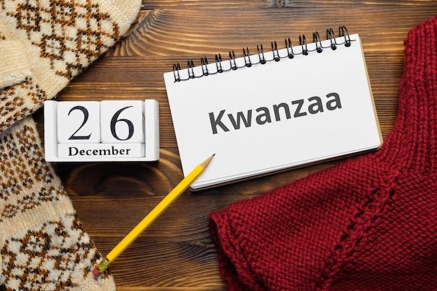 Jour férié afro-américain kwanzaa du calendrier du mois d'hiver décembre.