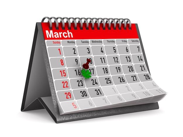 Jour de la st patrick. calendrier pour mars. illustration 3d isolée
