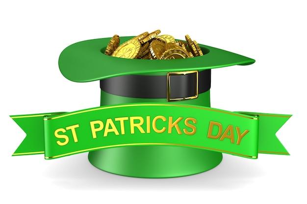 Jour de la st patrick. chapeau vert avec de l'argent sur fond blanc. illustration 3d isolée