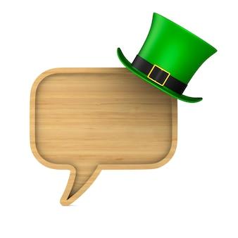 Jour de la st patrick. chapeau vert et discours de bulle sur l'espace blanc. illustration 3d isolée