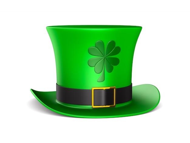 Jour de la st patrick. chapeau vert sur espace blanc. illustration 3d isolée