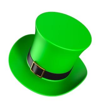 Jour de la st patrick. chapeau vert sur fond blanc. illustration 3d isolée
